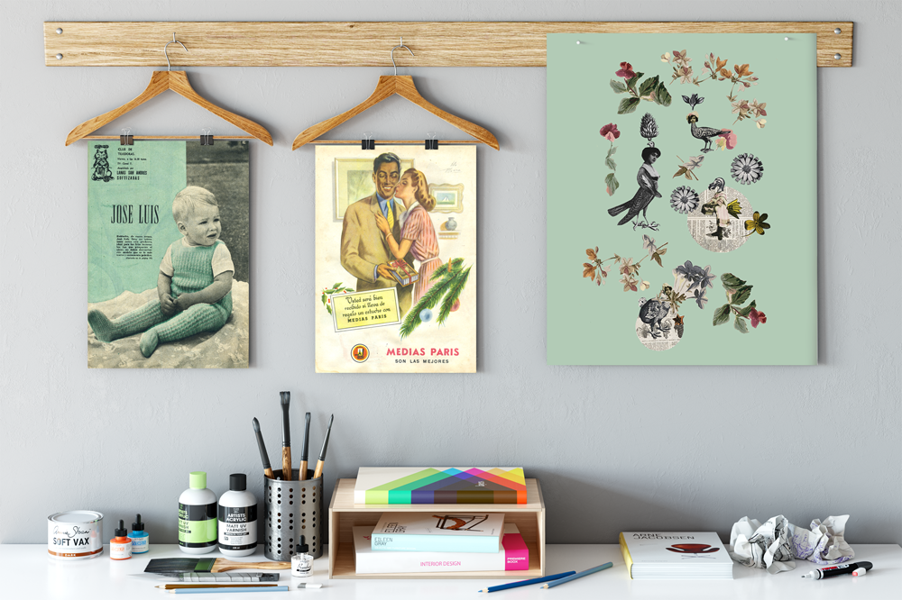 picture made with vintage collage kit, unframed