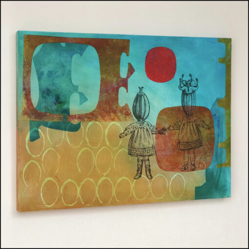 collage on board, twins, girls, flower heads, turquoise yellow red