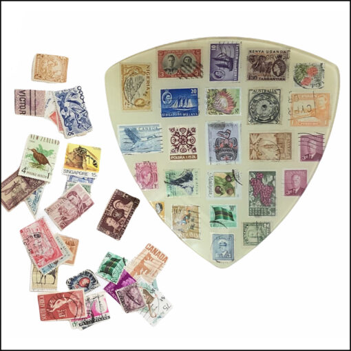 decoupage kit glass plate and postage stamps
