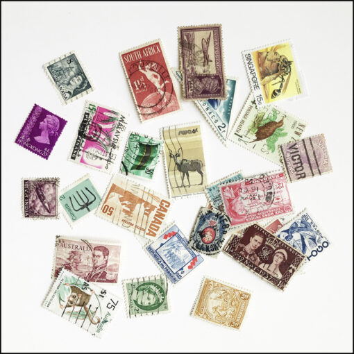 postage stamps for decoupage kit glass plate