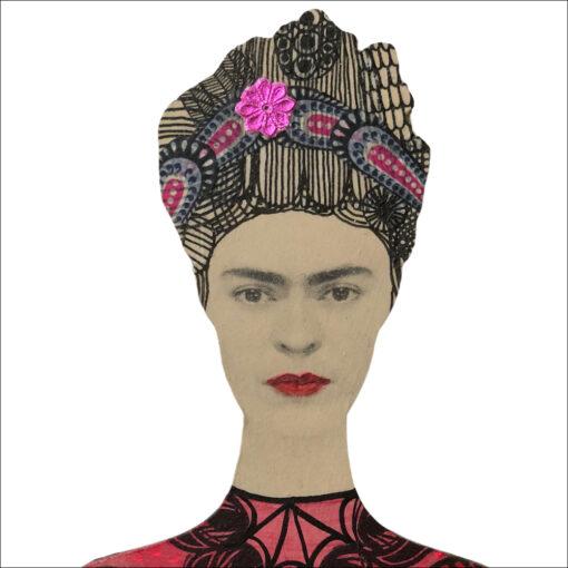 frida kahlo art doll, wall decoration closeup