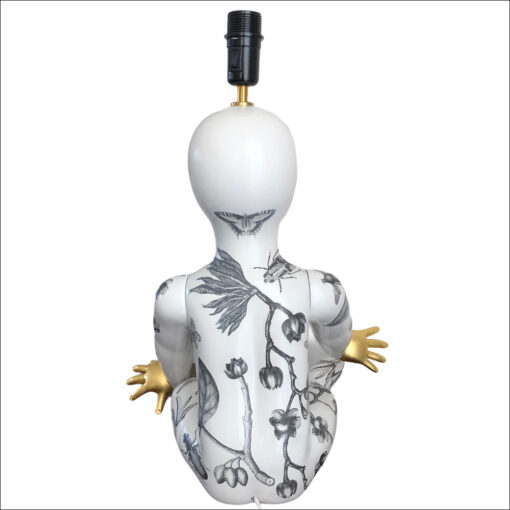 upcycled mannequin table lamp black and white