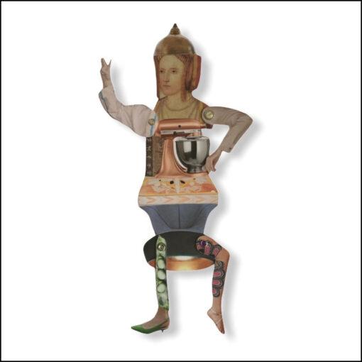 one-off original collage figure, balsa wood, woman