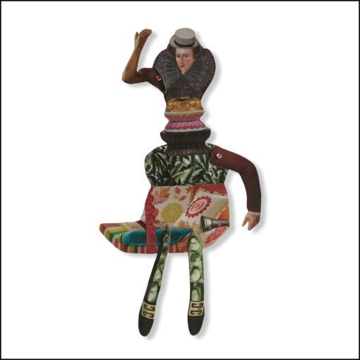 one-off original collage figure, balsa wood, woman, queen