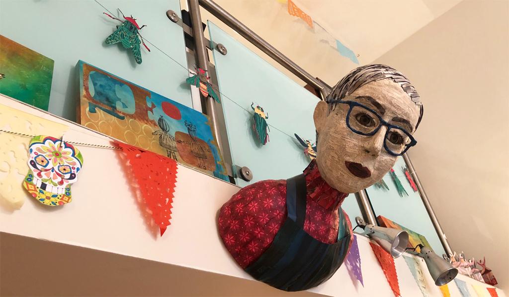 Gabriela Szulman papier mache self portrait Camberwell Arts open studio 26-27 June 2021