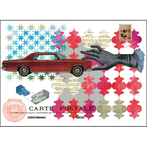 giclee print of a vintage mid-century american red car being held by a hand on a patterned red and turquoise background