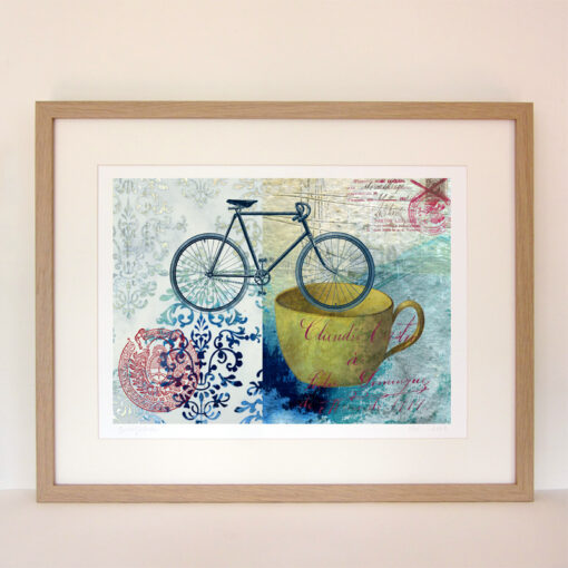 giclee print of a bike, a yellow cup and a couple of postal seals on a blue and turquoise painted background