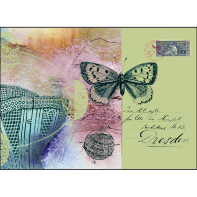 giclee print of a crset, a butterfly, maps of the tropics, handwriting and a vintage stamp