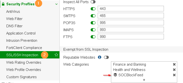 Fortigate IP Address Feed SSL Exempt