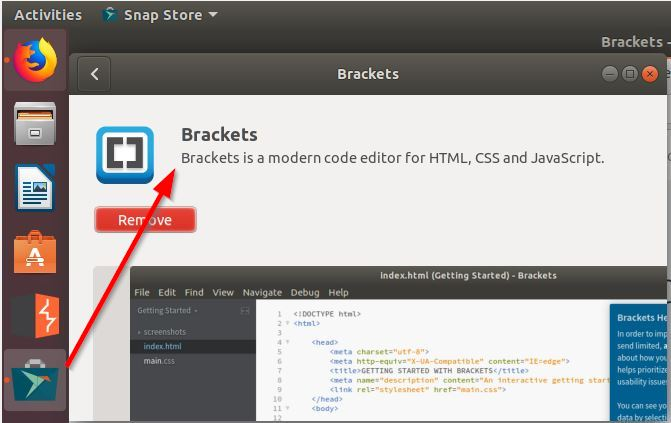 Ubuntu Install Brackets Editor using Snap