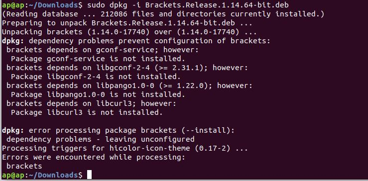 Ubuntu Install Brackets Package