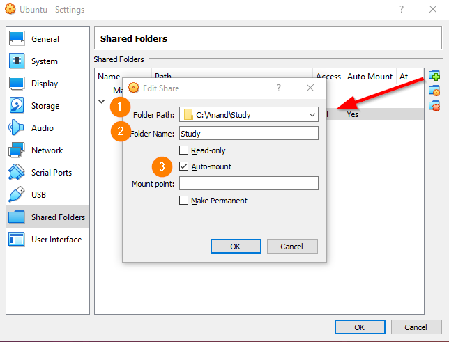 Ubuntu Shared Folders Mount