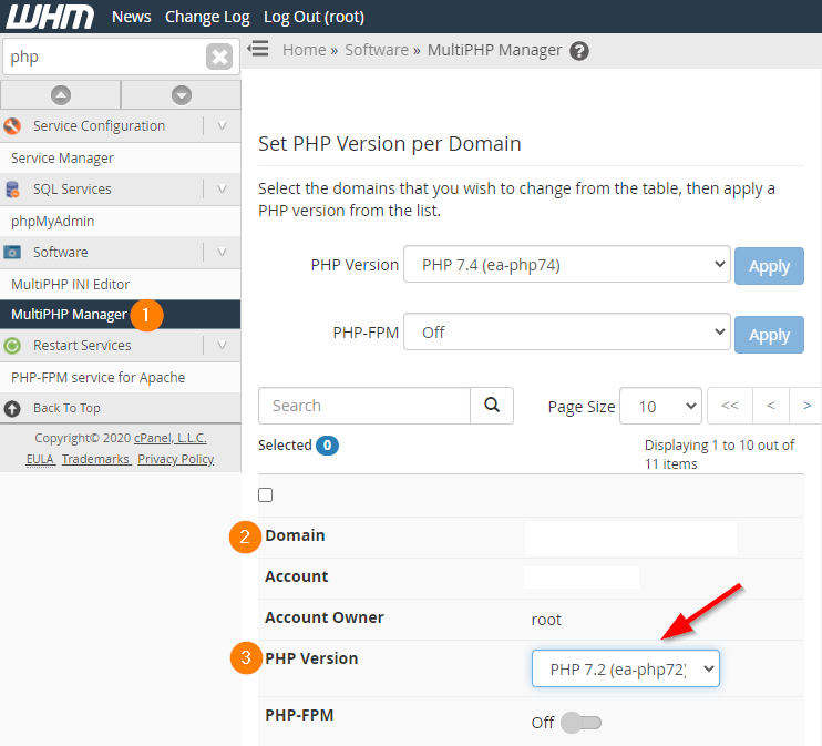 WHM PHP Version