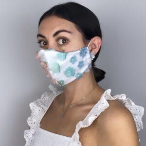 Lila Flower Power Satin Face Mask