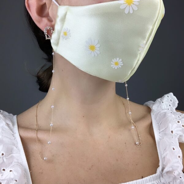 Lila Pearl Face Mask Chain
