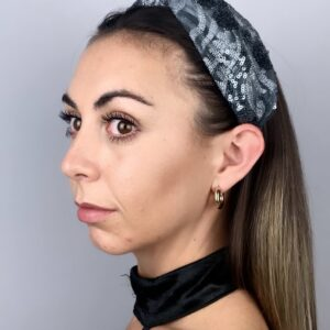 Lila Silver Glitz Turban Headband