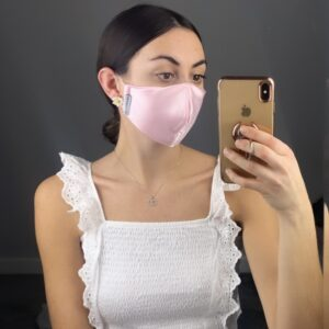 Lila Baby Pink Satin Face Mask
