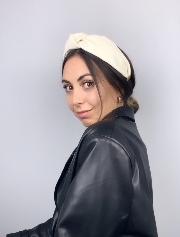 Lila Cream Leather Turban Headband