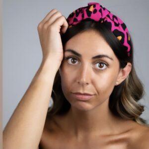 Lila Hot Pink Print Turban Headband