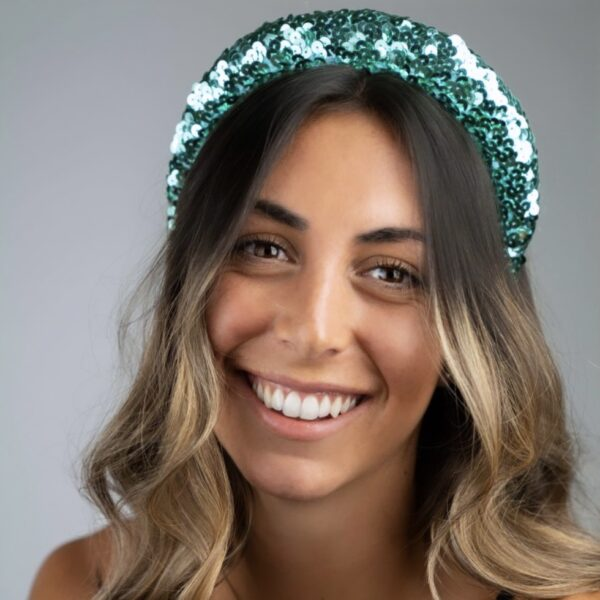 Lila Turquoise Sequin Padded Headband