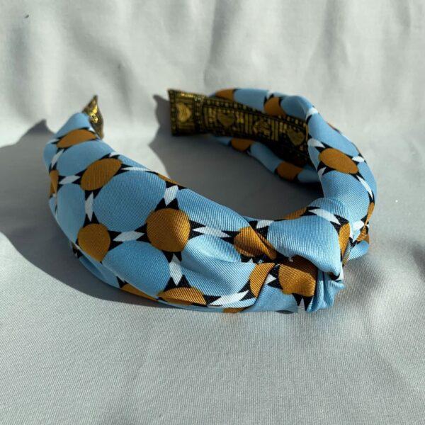 Lila Blue Tan Turban Headband