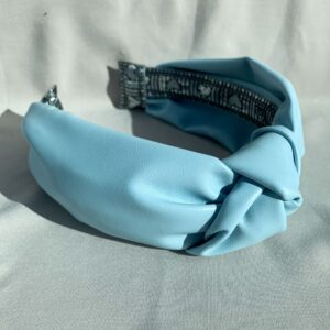 Lila Baby Blue Leather Turban Headband