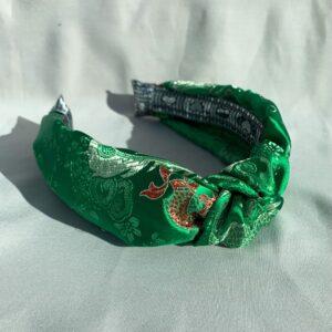 Lila Green Blossom Turban Headband