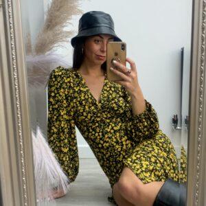 Lila Black Faux Leather Bucket Hat