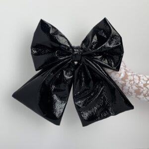 Lila Black PU Bow Hair Clip