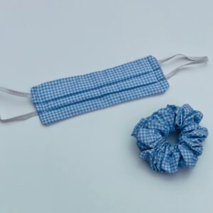Lila Blue Gingham Face Mask Set
