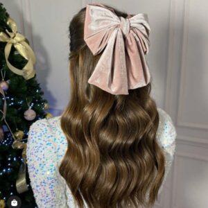 Lila Pink Velvet Bow Hair Clip