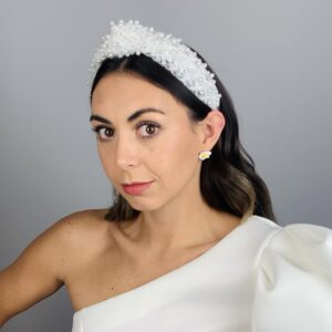 Lila White Pearl Turban Headband