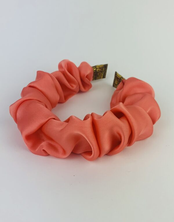 Lila Apricot Satin Ruffle Headband
