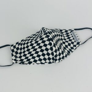 Lila Black White Check Face Mask
