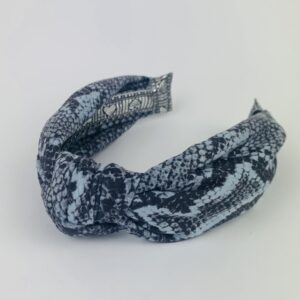 Lila Blue Snakeskin Turban Headband