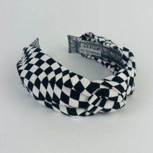Lila Black White Check Turban Headband