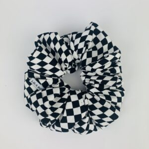 Lila Black White Check Scrunchie