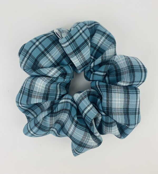 Lila Blue Plaid Scrunchie