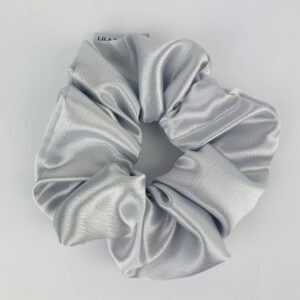 Lila Silver Satin Scrunchie