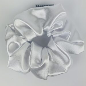 Lila White Satin Scrunchie