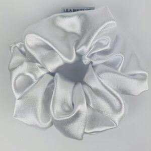 Lila White Satin Scrunchie