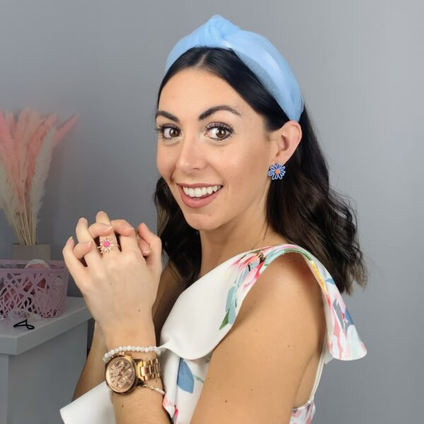 Lila Sky Blue Mesh Turban Headband