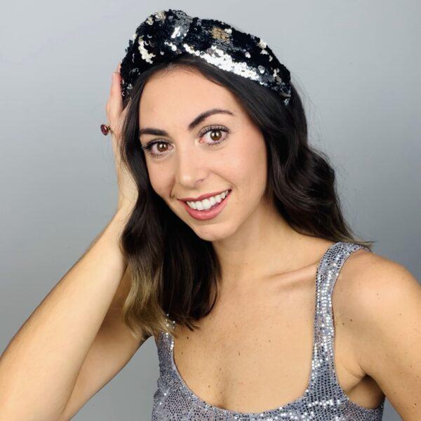 Lila Moonlight Sequin Turban Headband