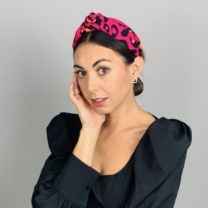 Lila Hot Pink Print Turban Headband