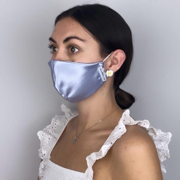 Lila Pastel Blue Satin Face Mask