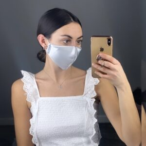 Lila Silver Satin Face Mask