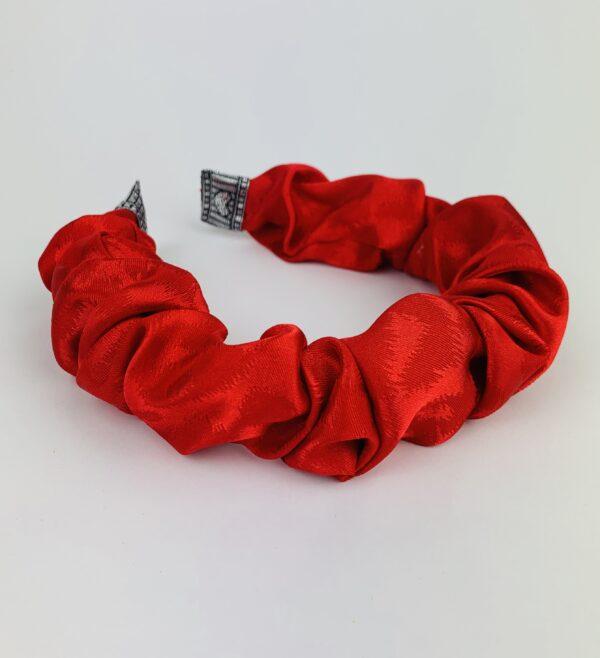 Lila Red Satin Ruffle Headband