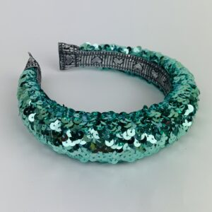 Lila Aqua Sequin Padded Headband