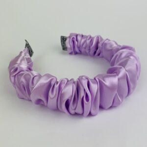 Lila Lilac Satin Ruffle Headband