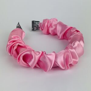 Lila Pink Satin Ruffle Headband